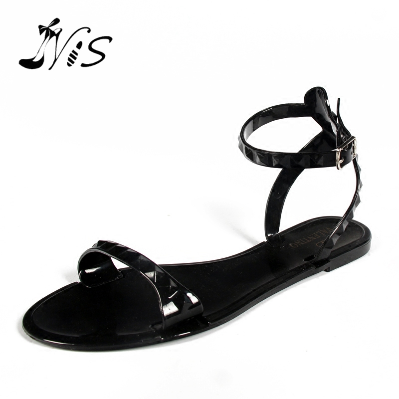 NIS Women Open Toe Ankle Strap Sandals Ladies Gladiator Buckle Flat Shoes Black/White/Red Summer Beach Flats Comfort Jelly Shoe  nis women air mesh shoes pink black red blue white flat casual shoe breathable hollow out flats ladies soft light zapatillas