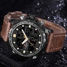 NAVIFORCE Top Brand Men Military Sport Watches Leather LED Digital Quartz Wrist Watch Waterproof Fashion Clock Relogio Masculino