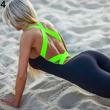 Sexy Women Skinny Tight Bandage Running Fitness Sport Jumpsuits Rompers Bodysuit(China)