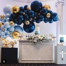 100 шт 12 дюймов сапфировый синий шар на день рождения, свадьбу, вечеринку, украшение для детского душа блестящий синий латексный шар