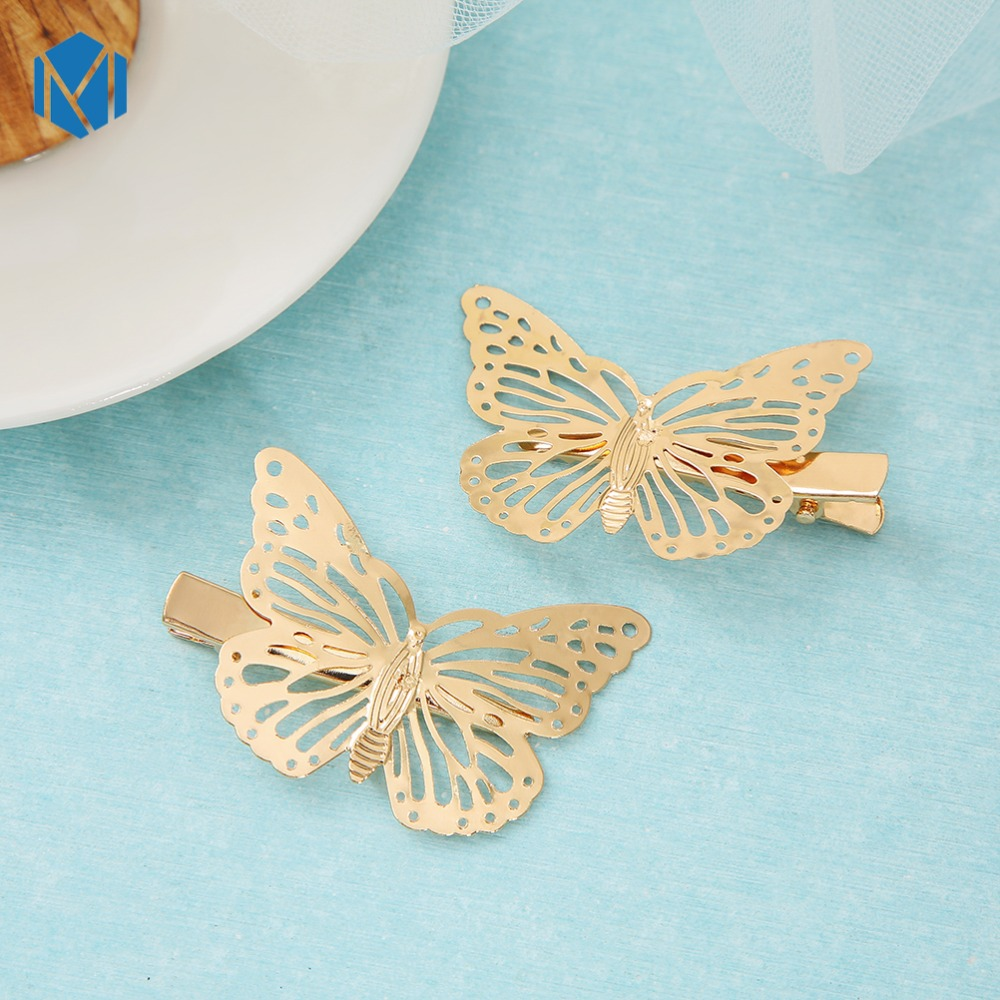 M MISM 1 Pair Cute Hair Clips For Baby Girls Party Golden Butterflies Hair Pins Metal Barrettes Headwear For Hair Accessories