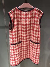 High quality ladys elegant tweed dress Brand new design spring autumn plaid sleeves A253