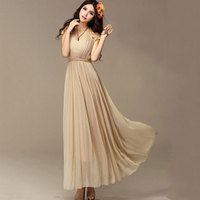 c2308fa6f5 Freeshipping Fancy Bridesmaid Ladies Long Cocktail Evening Party Wedding  Chiffon Lace Maxi Vintage Dress 2Colors