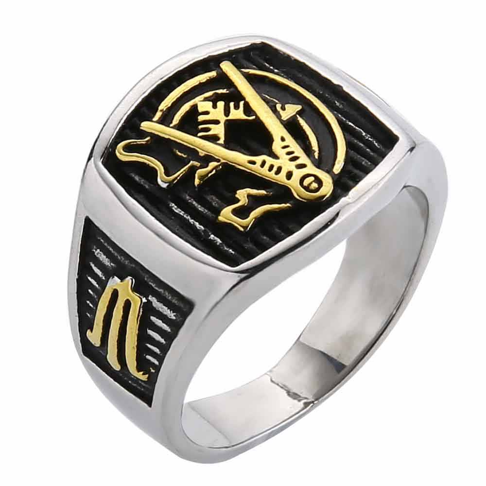 79d8d17a59e1a Valily Jewelry Men's Masonic Ring stainless steel AG Mason Master Ring  Freemason Vintage finger brand Gold rings For Women Male