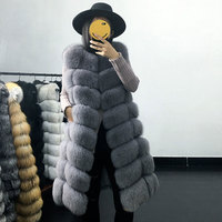 JKP Real fur long coat winter women's coat warm natural fox fur jacket furry striped fashion design hot sale discount price