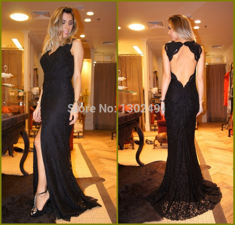 Elegant Black Lace Prom Gown Sheath V Neck Side Split Keyhole Back Sexy Long font b