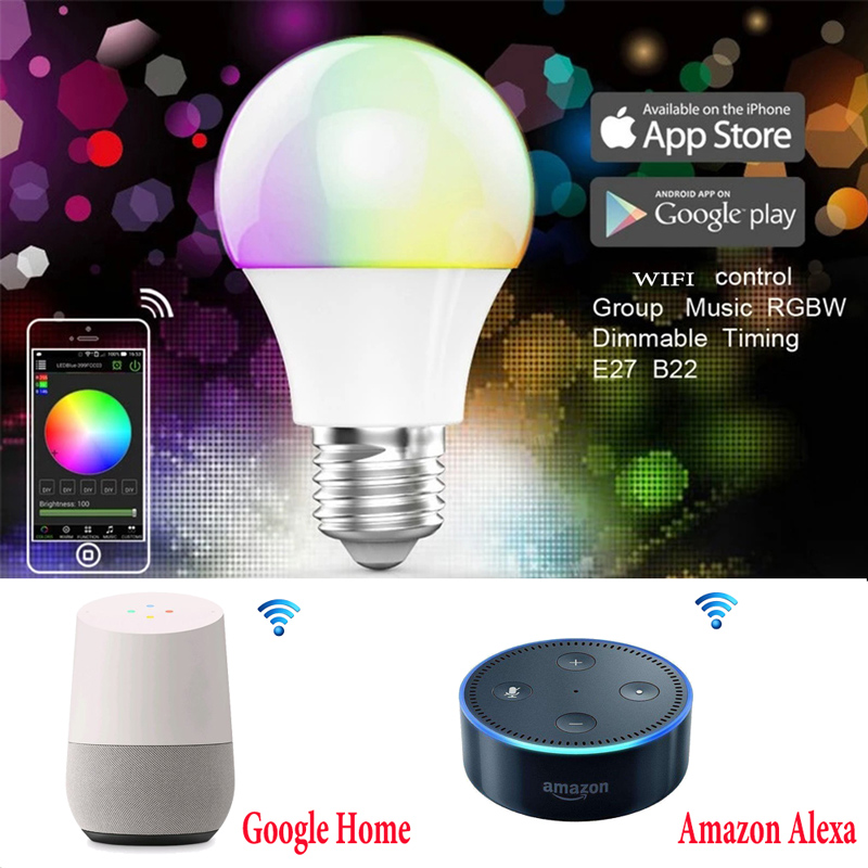 BOLEDENGYE RGBW CCT Ampoule WIFI Sans Fil Contrôle E27 RGB Dimmable lampe 4.5 W Maison Magique LED Smart Ampoule Lampada Alexa Echo contrôle