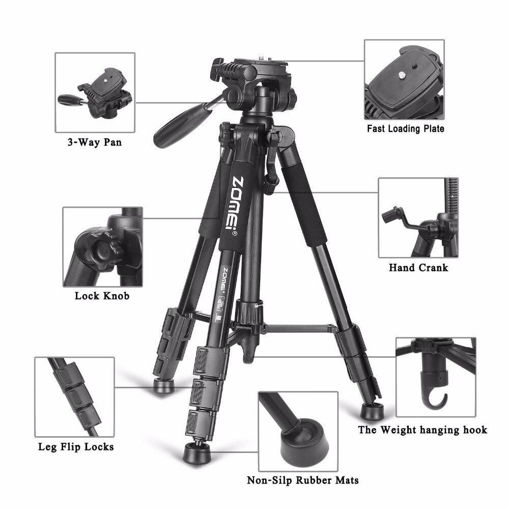 Nuevo respectivamente trípode Z666 profesional portátil de aluminio trípode de cámara accesorios soporte con cabeza Pan para Canon cámara Dslr - 4