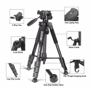 Image 4 - Yeni Zomei Tripod Z666 profesyonel taşınabilir seyahat alüminyum kamera tripodu aksesuarları standı Pan başkanı ile Canon Dslr kamera için