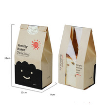 100Pcs 30x12x9cm Bread Bag With Window Kraft Paper Food Packaging To The School White Baking Toast Bakery Bags Sticker