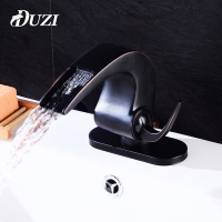 DUZI Waterfall Water Mixer Cold Hot Bathroom Basin Sink Faucets Deck Mounted With Sink Faucet Hole