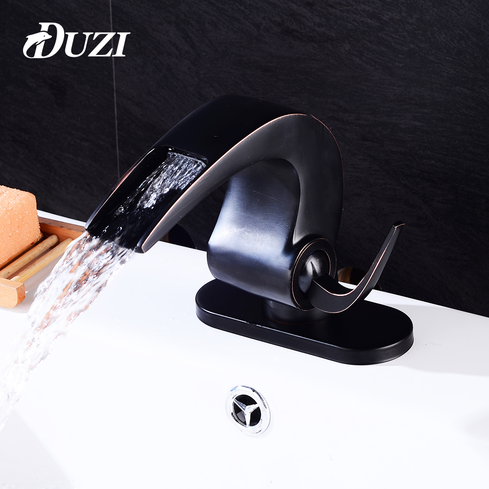 DUZI Waterfall Water Mixer Cold Hot Bathroom Basin Sink Faucets Deck Mounted With Sink Faucet Hole Cover Deck Plate Escutcheon цена