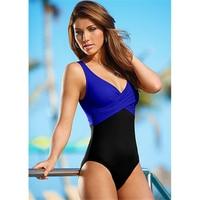 2016 Hot 4XL Plus Size Swimwear Black Patchwork Monokini One Piece Swimsuit Bodysuit Beachwear Retro Vintage