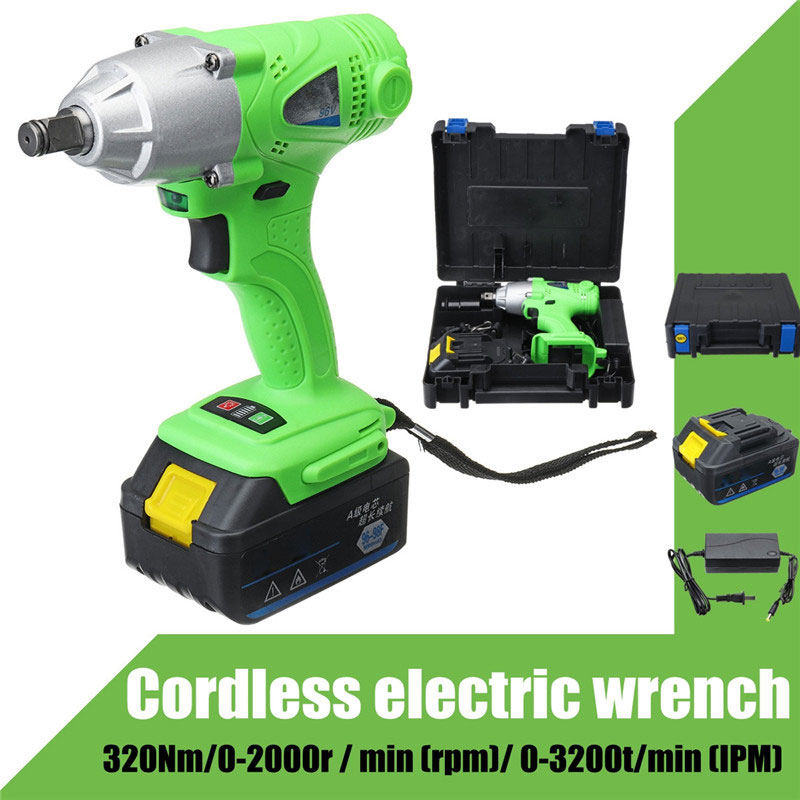 цена на 96V Cordless Impact Wrench 1/2 inch Drive Li-ion Lithium Battery 320NM + LED Light Cordless Rechargeable Electric Impact Drill