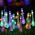 Solar Powered Outdoor Raindrop LED string lights 4.8M 20 Lamp for Outside Garden Patio Party Christmas night light luminaria
