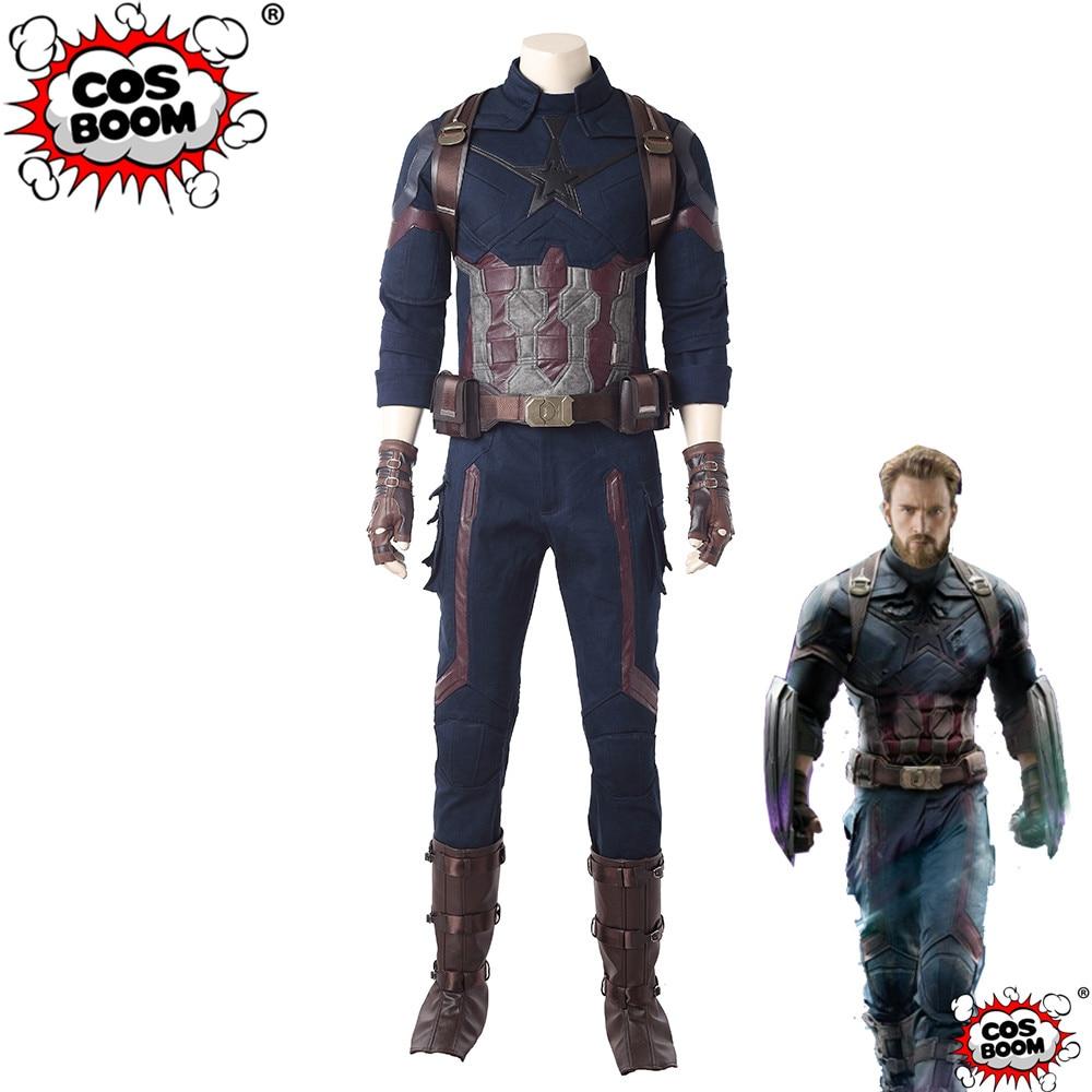 COSBOOM Avengers: Infinity War Costumes Captain America Costume Men's Halloween Carnival Avengers Superhero Cosplay Costume