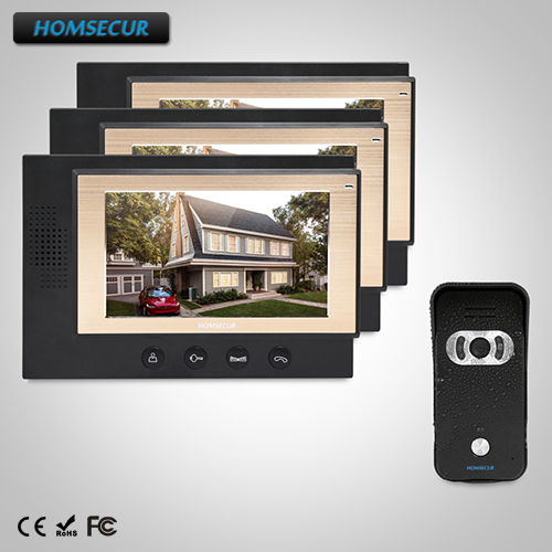 HOMSECUR 7 Wired Video&Audio Home Intercom+IR Night Vision for Home Security (TC021-B+TM701-B)