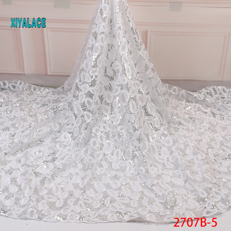 White 2019 High Quality Nigerian Lace African Lace Fabric Fabrics Organza Sequins Embroidery French Tulle Lace Fabric YA2707B-5