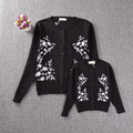 2017 autumn winter kids sweater girls cardigan mother and daughter clothes daisies embroidered matching mother daughter clothes