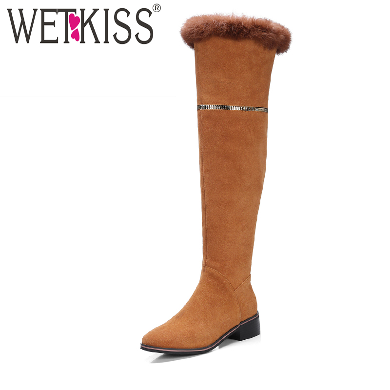 WETKISS Warm Fur Winter Boots Made Of Genuine Leather Side Zip Over The Knee Boots Easy Walking Square Heel Female Shoes Woman 2017 winter new clothes to overcome the coat of women in the long reed rabbit hair fur fur coat fox raccoon fur collar