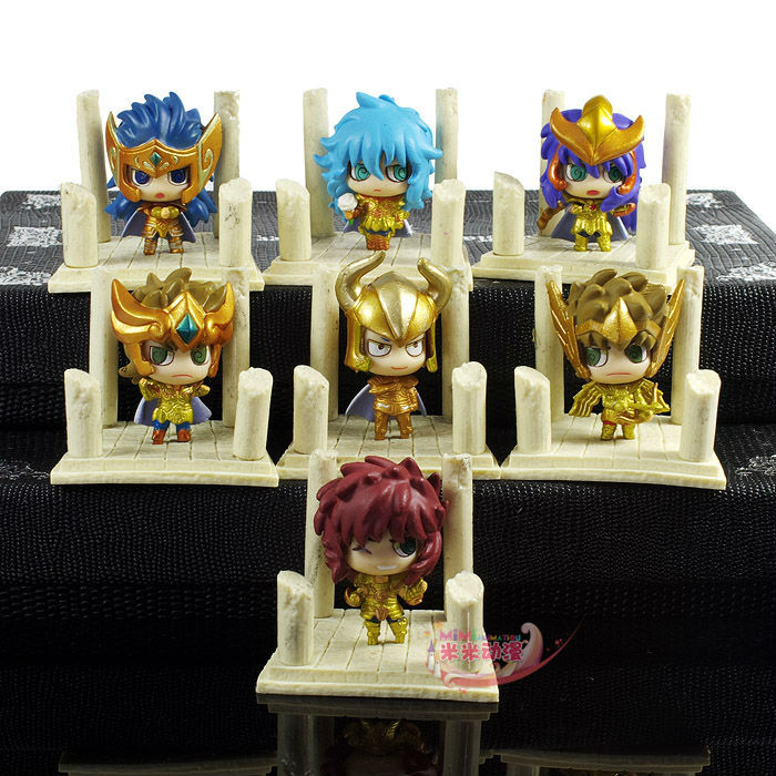 Saint Seiya 2th Egg Box Q Version The Gold Zodiac PVC Action Figures Toys 7pcs/lot 5CM Free Shipping