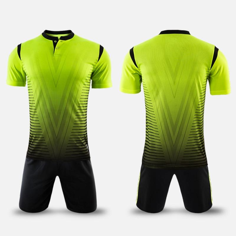 2017 új érkezés poliészter fiúk férfiak labdarúgó mezek beállítása üres foci csapat edzés ruhák gomb gyors száraz rövid egyenruhát design
