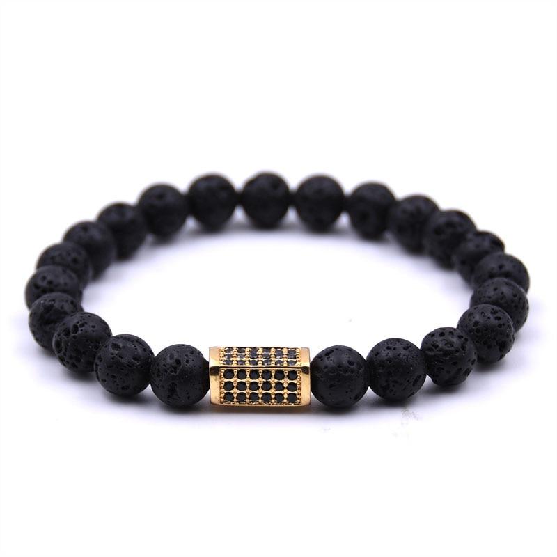 KANGKANG Hot Selling Volcanic stone Bracelet Micro inlay Zirconia 4 colors Quadrangular prism 8mm Elastic Rope Bead Bracelet in Strand Bracelets from Jewelry Accessories