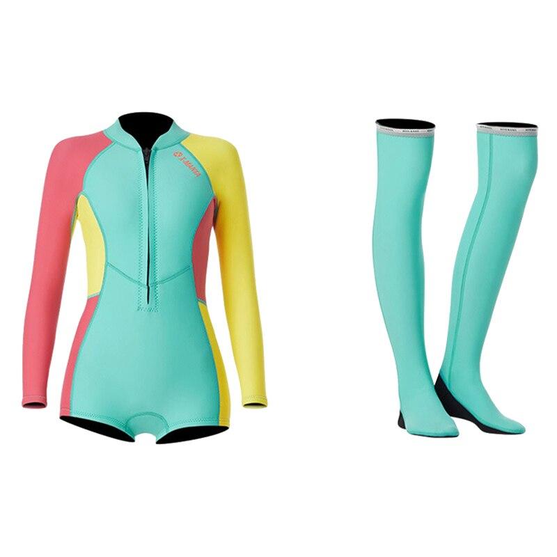 1,5 мм неопрен бикини гидрокостюм УФ Защита с длинным рукавом Дайвинг костюм купальный костюм серфинг подводное плавание чулки купальники - Цвет: Set Colorful
