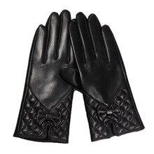 2019 Latest Gloves Lambskin Butterfly Knot Real Leather Winter Warm Plus Velvet Thicken Womans Sheepskin DQ6123