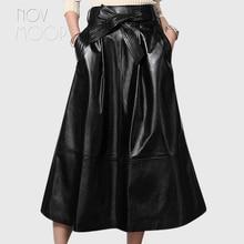 Black genuine leather skirts women A-Line flare skirt faldas jupe saia etek heavyweight grained lambskin skirt with belt LT281