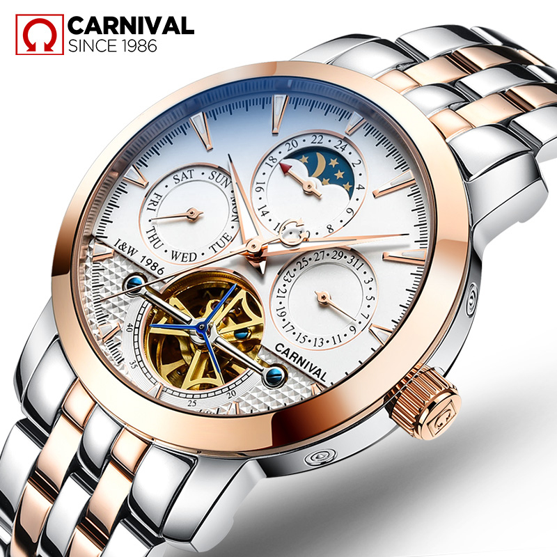 2018 New Rushed Genuine CARNIVAL Watch Men Automatic Mechanical Watches Relogio Masculino Top Brand Luxury Skeleton Watch Clock удилище фидерное mikado ultraviolet heavy feeder 360 до 120гр карбон mx 9