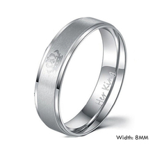 Couple Ring Her King and His Queen Stainless Steel Wedding Rings for Women Men
