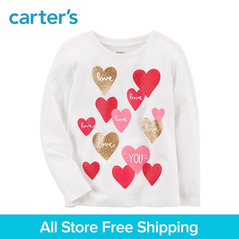 Carters 1-Piece baby children kids clothing Girl Spring & Summer Love You Jersey Long sleeves Tee 253H700