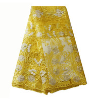 Ourwin African Lace Fabric Yellow Beaded African Lace Fabric 2019 High Quality Laces Material Bridal Lace Fabric White