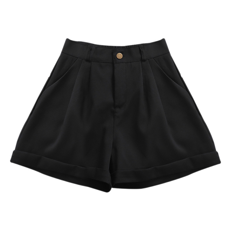 2019 New Fashion High Waist Summer Shorts Feminino Korean Ladies Loose Pockets Shorts Solid Color Casual Women Shorts