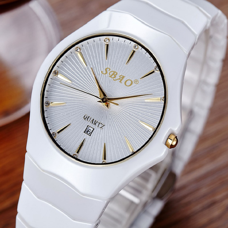 SBAO Luxury Brand Ceramic Women Watch Quartz Female Watch Ladies Dress Watches Fashion Montre Femme Simple Dial Clock Relogio