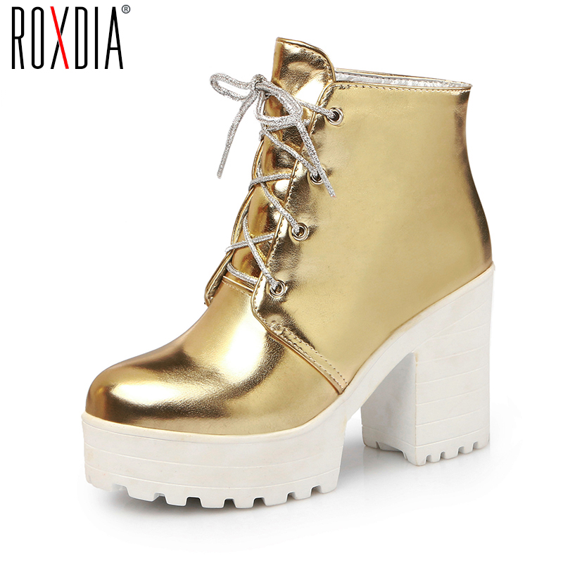 ROXDIA Fashion Quality PU Leather Women Ankle Boots for Spring Autumn Platforms Lace Up Woman Shoes Big size 36-43 RX001 2017 autumn fashion boots sequins women shoes lady pu leather white boots bling brand martin boots breathable black lace up pink