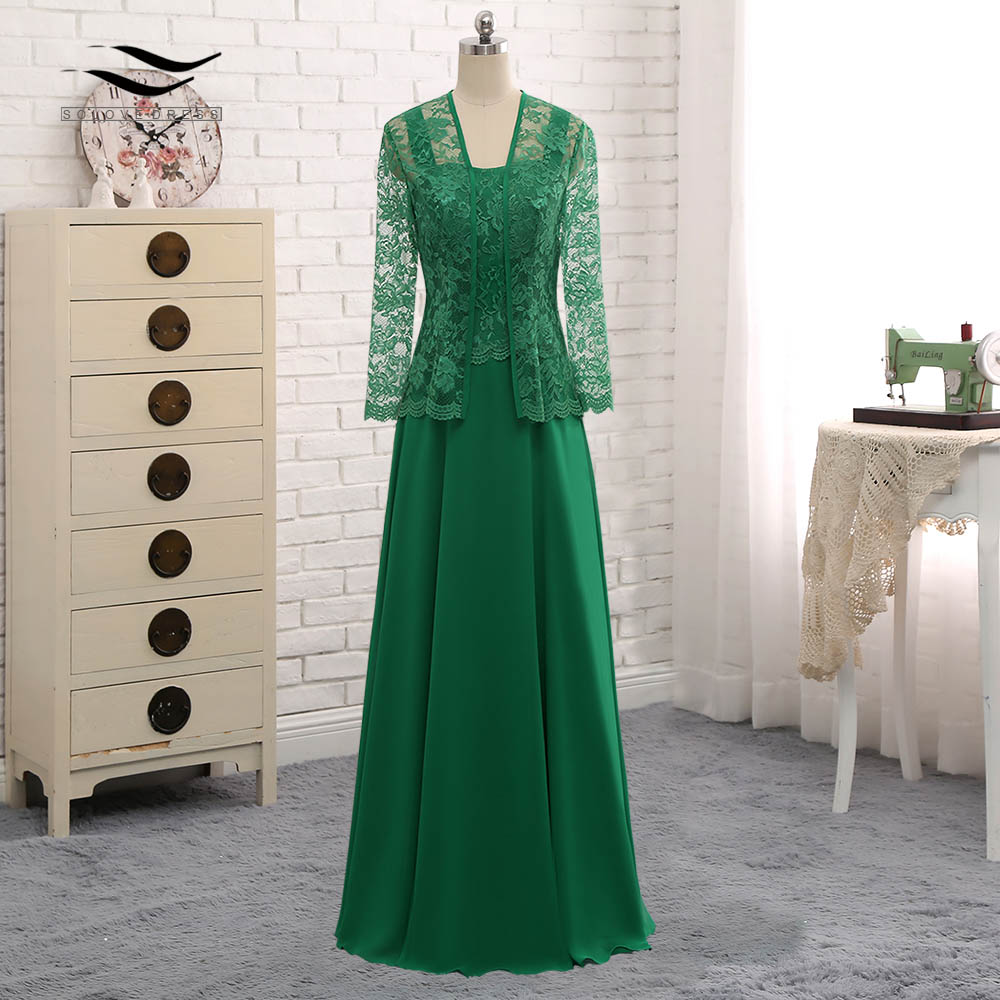 Long Sleeves Lace Cut Out Formal Gown Chiffon Mother Of the Bride Dress With Jacket For