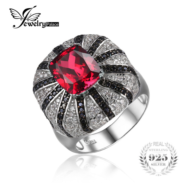 Jewelrypalace Luxury 3.9ct Created Red Ruby Natural Black Spinel Cocktail Ring Solid 925 Sterling Silver  Wedding Ring Jewelry
