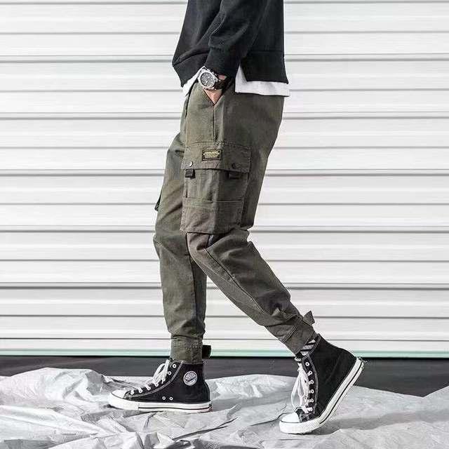 Streetwear Black Harem Pants Men Elastic Waist Punk Pants With Ribbons Casual Slim Jogger Pants Men Hip Hop Trousers 32