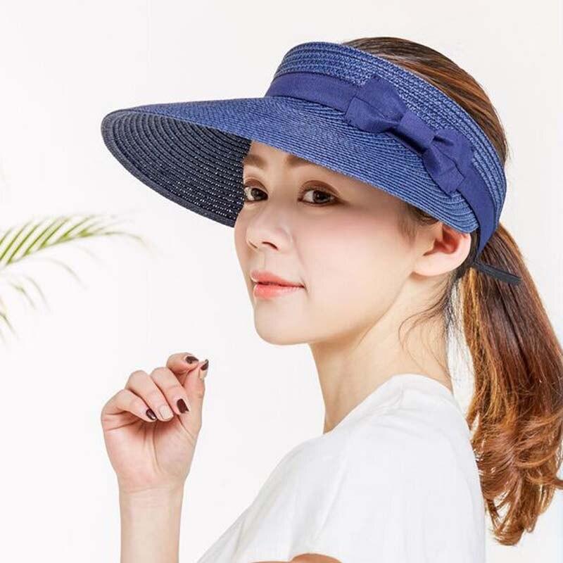 2018 Hot Woman Sun Hats Big Brim Foldable Hand Made Visor Female Casual Shade Hat Summer Empty Top Hat Beach Cap