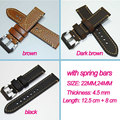 22/24mm Hand made high Quality   Leather Watch Strap Band for P watch  with stainless steel buckle  Free shipping