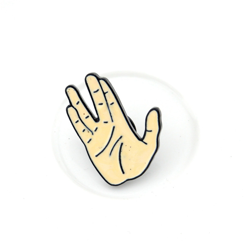 New Spock Hand Badge Pin Live Long And Prosper Pin Enamel Jewelry Trekkie Gift Brooch Popular Clothing Badges Wholesale