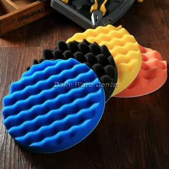 4Pcs 7inch(180mm) Buffing Polishing Sponge Pads Kit for Car Polisher Soft Wave Foam Waffle Pad Car Wash Cleaning Detailing Tool