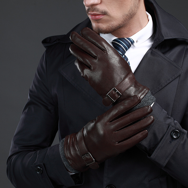 NEW Leather Winter Guantes Warm Sheepskin Gloves Men Leather Gloves Simple Prevent Cold Gloves For Men KWA559