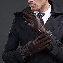 Новые кожаные зимние перчатки guantes, теплые перчатки из овчины, мужские кожаные перчатки, простые противоскользящие перчатки для мужчин KWA559