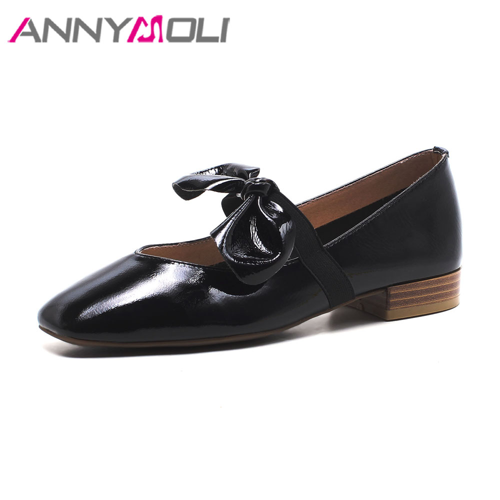 ANNYMOLI Women Mary Jane Shoes Genuine Leather Flats Bow Ballet Flats Spring 2018 Shoes Square Toe Flat Causal Shoes Black White meotina women flat shoes ankle strap flats pointed toe ballet shoes two piece ladies flats beading causal shoes beige size 34 43
