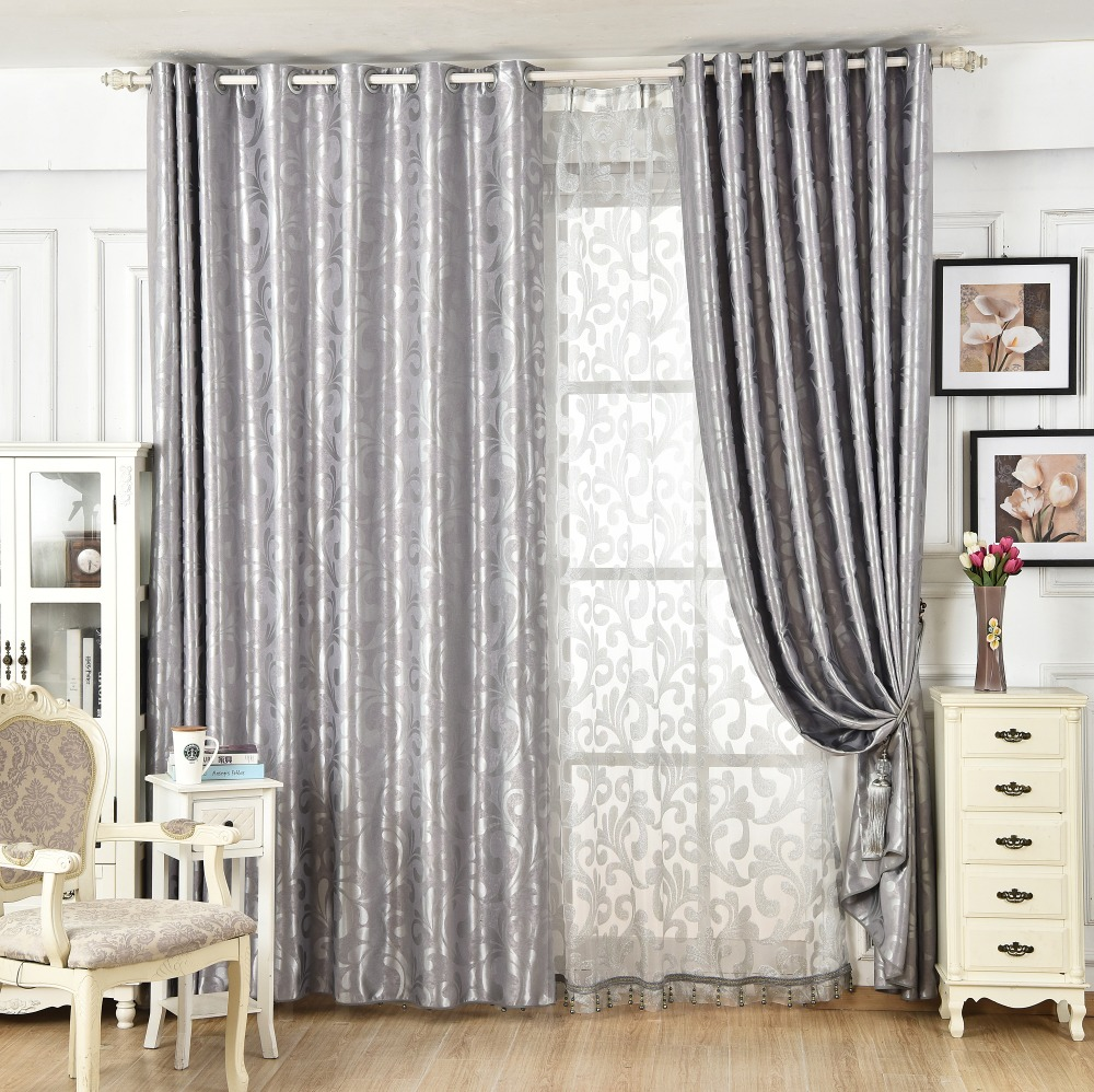 Jacquard thickening blackout cloth curtain for living room window ...