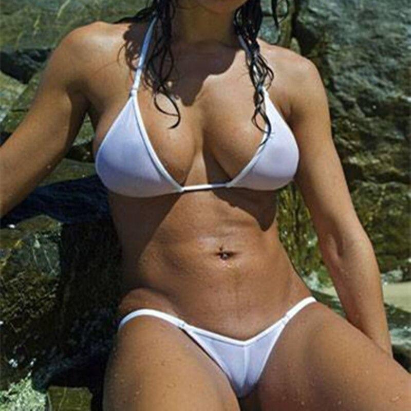 Women Sexy Solid Micro Mini Sunbath Bikini Set Thong Underwear G-String Swimwear 2018 Women Brazilian Swimsuit Maillot De Bain