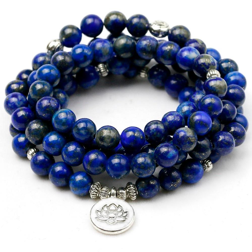 High Quality Lapis Lazuli Bracelet Natural Stone Beads Men Women Bangles Handmade Yoga Energy Jewelry(Do not fade) Father's Gift